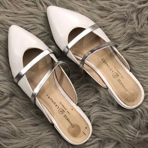 White slip on flats pointed toe sandals